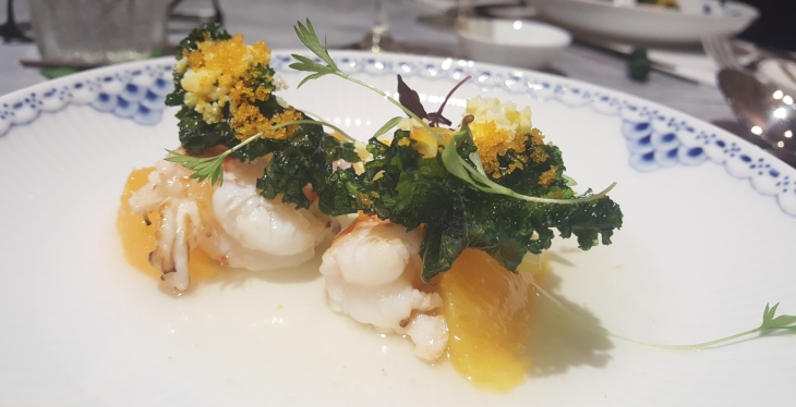 Langoustine with Mandarin Orange, Fried Seaweed, and Onion Broth