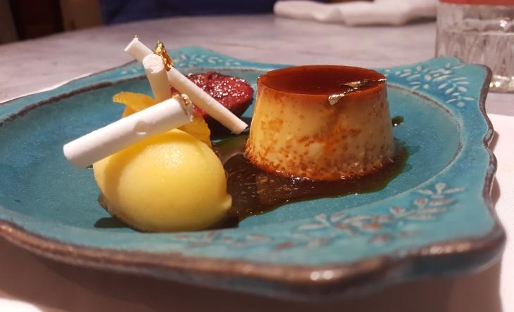 Creme Caramel, Fig Compote, Mandarin Sorbet, Meringue Cigar